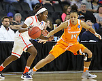SIOUX FALLS, SD - MARCH 27, 2016 -- Alexis Peterson #1 of Syracuse drives toward Tennessee defender Andraya Carter #14 during their NCAA DI Regional Championship game Sunday at the Denny Sanford Premier Center in Sioux Falls, S.D.  Syracuse won 89-67 to advance to the Final Four and will face Washington. (Photo by Dick Carlson/Inertia)