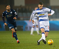 1st November 2019; Dens Park, Dundee, Scotland; Scottish Championship Football, Dundee Football Club versus Greenock Morton; Stephen Welsh of Greenock Morton plays the ball away from Kane Hemmings of Dundee  - Editorial Use