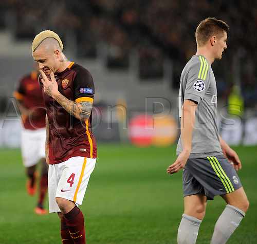 17.02.2016. Stadio Olimpico, Rome, Italy. UEFA Champions League, Round of 16 - first leg, AS Roma versus Real Madrid.  Radja Nainggolan dejected during the game