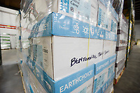 NWA Democrat-Gazette/CHARLIE KAIJO Boxes are shown, Thursday, January 10, 2019 at the new Bentonville School District Warehouse in Bentonville. <br /><br />The new warehouse will house food commodities, district supplies, paper supplies, adventure club and child enrichment services supplies and snack packs for the students.