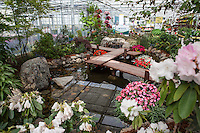 Sakata California Spring Trials, Greenhouse exhibit display with boardwalk over pond