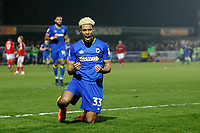 GOAL - Lyle Taylor of AFC Wimbledon makes it 1-0 during the Sky Bet League 1 match between AFC Wimbledon and Charlton Athletic at the Cherry Red Records Stadium, Kingston, England on 10 April 2018. Photo by Carlton Myrie / PRiME Media Images.