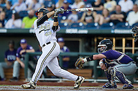 Vanderbilt Commodores first baseman Zander Wiel (43) follows through on his swing against the TCU Horned Frogs in Game 12 of the NCAA College World Series on June 19, 2015 at TD Ameritrade Park in Omaha, Nebraska. The Commodores defeated TCU 7-1. (Andrew Woolley/Four Seam Images)