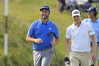 Jon Rahm (ESP) and Matt Wallace (ENG) walk onto the 14th green during Thursday's Round 1 of the Dubai Duty Free Irish Open 2019, held at Lahinch Golf Club, Lahinch, Ireland. 4th July 2019.<br /> Picture: Eoin Clarke | Golffile<br /> <br /> <br /> All photos usage must carry mandatory copyright credit (© Golffile | Eoin Clarke)