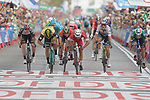 Nacer Bouhanni (FRA) Cofidis outsprints Danny Van Poppel (NED) LottoNL-Jumbo and Elia Viviani (ITA) Quick-Step Floors to win Stage 6 of the La Vuelta 2018, running 150.7km from Huércal-Overa to San Javier, Mar Menor, Sierra de la Alfaguara, Andalucia, Spain. 30th August 2018.<br /> Picture: Colin Flockton | Cyclefile<br /> <br /> <br /> All photos usage must carry mandatory copyright credit (© Cyclefile | Colin Flockton)