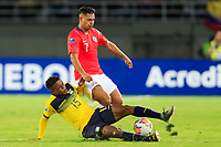 PEREIRA, COLOMBIA - JANUARY 18: Chile's Ivan Morales, (R) fights for the ball  against Ecuador's Gustavo Cortez during their CONMEBOL Preolimpico soccer game at the Hernan Ramirez Villegas Stadium on January 18, 2020 in Pereira, Colombia. (Photo by Daniel Munoz/VIEW press/Getty Images)