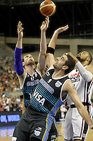 USA's Tyson Chandler (r) and Argentina's Andrs Nocioni (l) and Juan Gutierrez during friendly match.July 22,2012. (ALTERPHOTOS/Acero) /NortePhoto.com*<br /> **CREDITO*OBLIGATORIO** <br /> *No*Venta*A*Terceros*<br /> *No*Sale*So*third*<br /> *** No Se Permite Hacer Archivo**