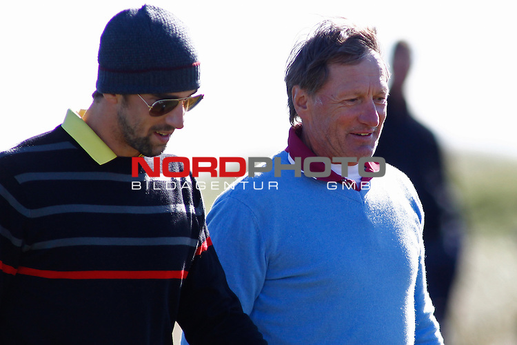 04 October 2012. Michael Phelps and Franz Klammer competing in The European Tour Alfred Dunhill Links Championship Golf Tournament, played on the Carnoustie Golf Course.                                                                                                       Foto nph /  Mitchell Gunn/ESPA *** Local Caption ***