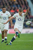 Twickenham, United Kingdom. Owen FARRELL with a penalty kck, during the Old Mutual Wealth Series Rest Match: England vs Australia, at the RFU Stadium, Twickenham, England, <br /> <br /> Saturday  03/12/2016<br /> <br /> [Mandatory Credit; Peter Spurrier/Intersport-images]