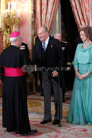 Queen Sofia of Spain and King Juan Carlos of Spain attends the reception of the diplomatic corps in Spain at Palacio Real. January 23, 2013. (ALTERPHOTOS/Caro Marin) /NortePhoto /MediaPunch Inc. ***FOR USA ONLY***