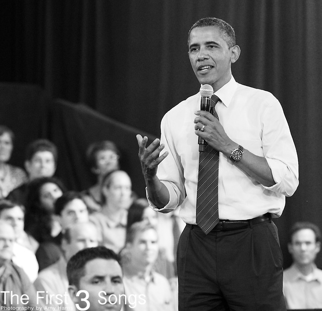 President Barack Obama speaks at his town hall meeting at the Cincinnati Music Hall Ballroom in Cincinnati, Ohio.