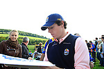 Rory McIlroy signs autographs during Practice Day 3 of the The 2010 Ryder Cup at the Celtic Manor, Newport, Wales, 29th September 2010..(Picture Eoin Clarke/www.golffile.ie)