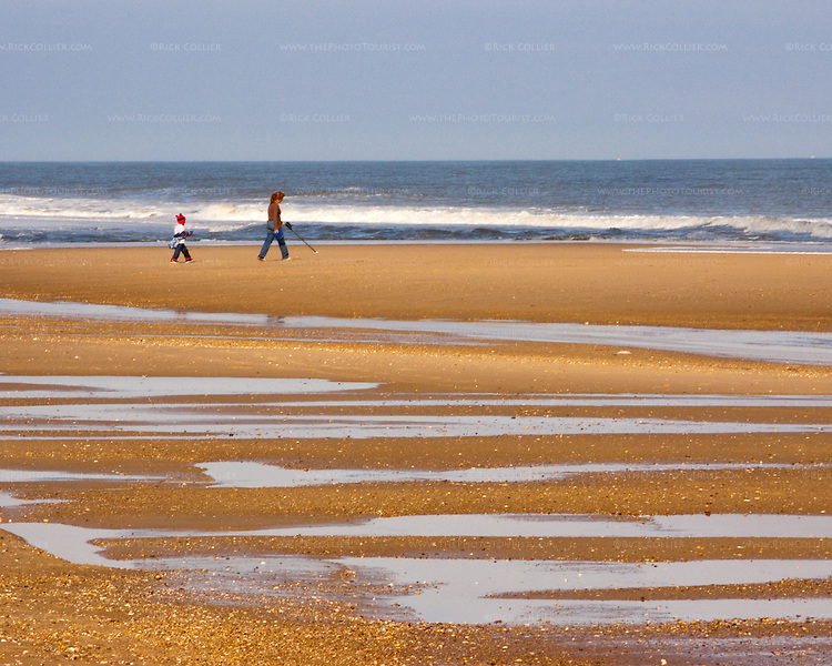 A beach treasure hunter with a metal detector patrols the beach at low tide, accompanied by her playing child.