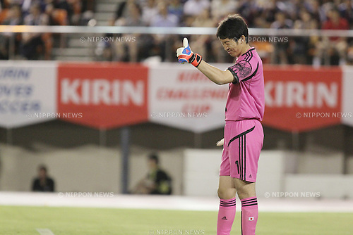 Shuichi Gonda (JPN),.JULY 11, 2012 - Football / Soccer :.Shuichi Gonda of Japan gives a thumbs up during the Kirin Challenge Cup 2012 match between U-23 Japan 1-1 U-23 New Zealand at National Stadium in Tokyo, Japan. (Photo by Kenzaburo Matsuoka/AFLO)