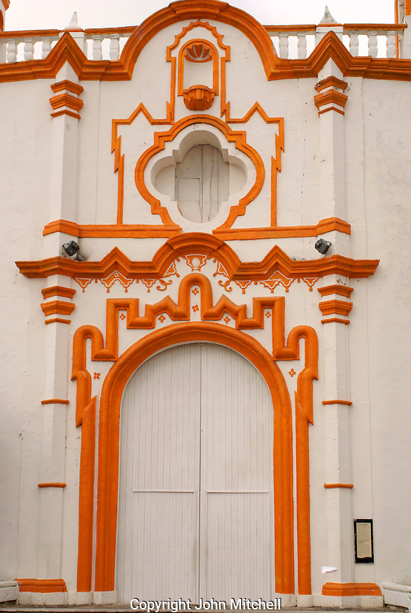 Entrance to La Candelaria church in the Spanish colonial river town of Tlacotalpan, Veracruz, Mexico. Tlacotlapan was made a UNESCO World Heritage Site in 1998.