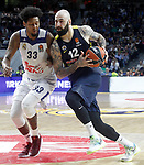 Real Madrid's Trey Thompkins (l) and Fenerbahce Istambul's Pero Antic during Euroleague, Regular Season, Round 29 match. March 31, 2017. (ALTERPHOTOS/Acero)