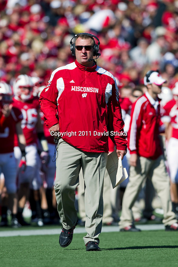 Wisconsin Badgers Head Coach Bret Bielema looks on during an NCAA Big Ten Conference college football game against the Indiana Hoosiers on October 15, 2011 in Madison, Wisconsin. The Badgers won 59-7. (Photo by David Stluka)