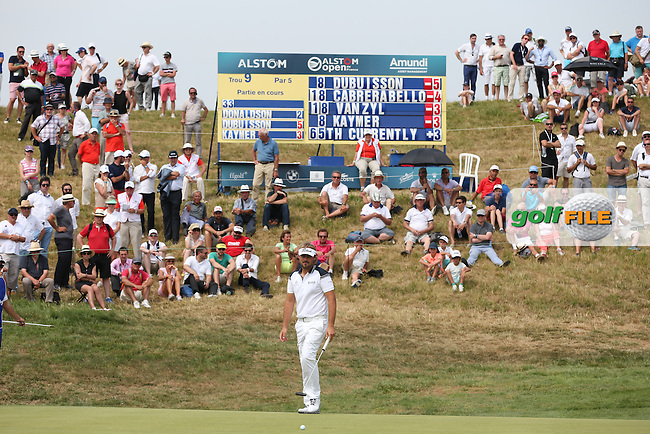 Victor Dubuisson (FRA) bogeys the 9th during Round Two of the 2015 Alstom Open de France, played at Le Golf National, Saint-Quentin-En-Yvelines, Paris, France. /03/07/2015/. Picture: Golffile | David Lloyd<br /> <br /> All photos usage must carry mandatory copyright credit (&copy; Golffile | David Lloyd)
