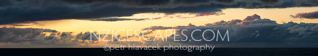 Coastal sunset with clouds, West Coast, South Westland, UNESCO World Heritage Area, New Zealand, NZ