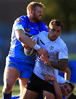 TORONTO, ON - SEPTEMBER 09:  Greg Worthington #3 of Toronto Wolfpack is tackled by Joe Bullock #8 of Barrow Raiders during a Kingstone Press League 1 Super 8s match at Lamport Stadium on September 9, 2017 in Toronto, Canada.  (Photo by Vaughn Ridley/SWpix.com)