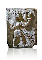 Hittite orthostat relief depicting a god. Hittie Period 1450 - 1200 BC. Hattusa Boğazkale. Hattusa Boğazkale. Çorum Archaeological Museum, Corum, Turkey. Çorum Archaeological Museum, Corum, Turkey. Against a white bacground.