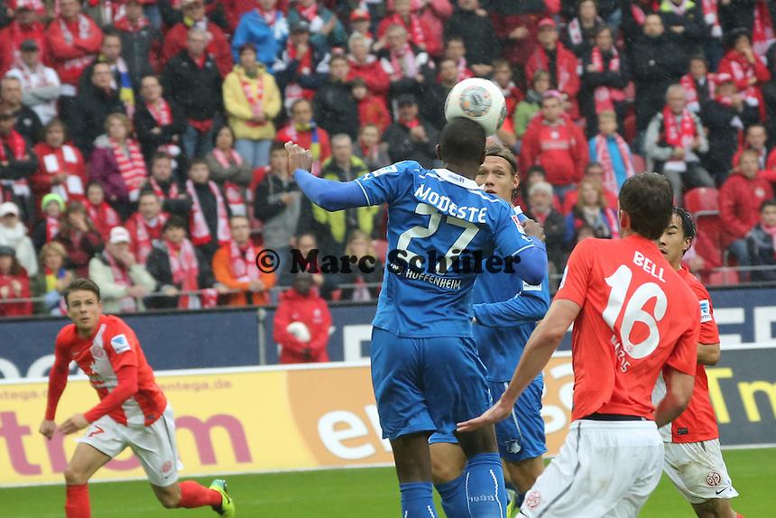 Kopfball Anthony Modeste (Hoffenheim) gegen Stefan Bell (Mainz)- 1. FSV Mainz 05 vs. TSG 1899 Hoffenheim, Coface Arena, 8. Spieltag