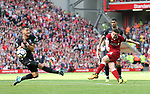 Liverpool's Andy Robertson fires in a shot during the premier league match at the Anfield Stadium, Liverpool. Picture date 19th August 2017. Picture credit should read: David Klein/Sportimage