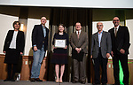 Courteney Muhl holds her Award of Excellence with Judges at the 3rd Annual Robert L. Foehl Ethical Leadership Case Competiton.