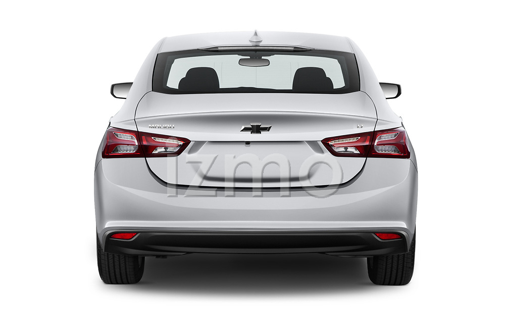 Straight rear view of a 2019 Chevrolet Malibu LT 4 Door Sedan stock images