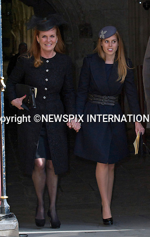 PRINCESS BEATRICE, MOTHER SARAH, DUCHESS OF YORK  AND FATHER PRINCE ANDREW<br /> attend Sir David Frost Memorial Service, Westminster Abbey, London_13/03/2014<br /> Mandatory Credit Photo: &copy;Dias/NEWSPIX INTERNATIONAL<br /> <br /> **ALL FEES PAYABLE TO: &quot;NEWSPIX INTERNATIONAL&quot;**<br /> <br /> IMMEDIATE CONFIRMATION OF USAGE REQUIRED:<br /> Newspix International, 31 Chinnery Hill, Bishop's Stortford, ENGLAND CM23 3PS<br /> Tel:+441279 324672  ; Fax: +441279656877<br /> Mobile:  07775681153<br /> e-mail: info@newspixinternational.co.uk