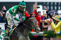 BALTIMORE, MD - MAY 21: Exaggerator #5, ridden by Kent J. Desormeaux, wins the the 141st running of the Preakness Stakes at Pimlico Race Course on May 21, 2016 in Baltimore, Maryland. (Photo by Zoe Metz/Eclipse Sportswire/Getty Images)