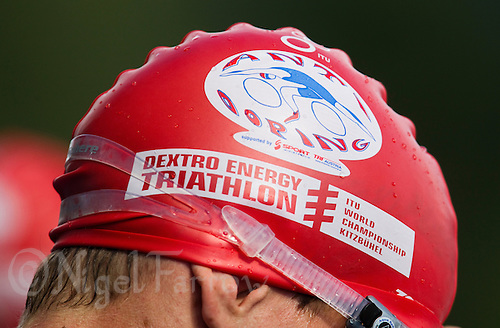 15 AUG 2010 - KITZBUEHEL, AUT - Anti Doping logo on swimhat at the 2010 European Police Triathlon Championships .(PHOTO (C) NIGEL FARROW)