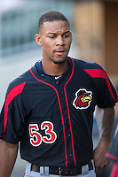 Byron Buxton (53) of the Rochester Red Wings during the game against the Charlotte Knights at BB&T BallPark on August 8, 2015 in Charlotte, North Carolina.  The Red Wings defeated the Knights 3-0.  (Brian Westerholt/Four Seam Images)