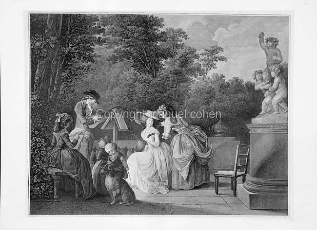 Pastoral concert, with a lute player, a guitarist and a woman singing, in a garden setting with children and a pet dog, late 19th century engraving. Copyright © Collection Particuliere Tropmi / Manuel Cohen