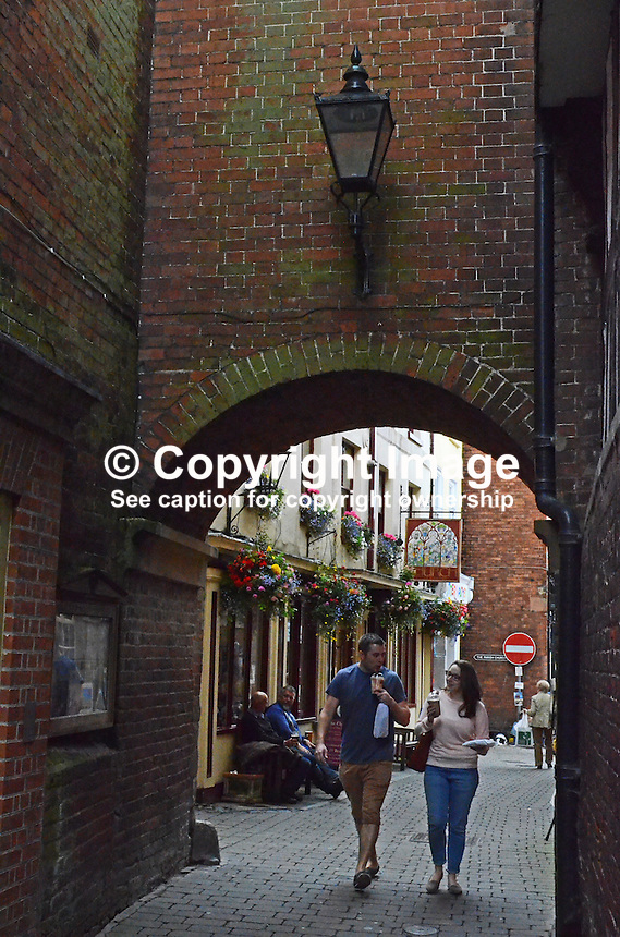 Narrow alley, archway, typical, Ludlow, Shropshire, UK, 201407053254<br /> <br /> Copyright Image from Victor Patterson, 54 Dorchester Park, Belfast, UK, BT9 6RJ<br /> <br /> Tel: +44 28 9066 1296<br /> Mob: +44 7802 353836<br /> Voicemail +44 20 8816 7153<br /> w: victorpatterson.com<br /> <br /> e1: victorpatterson@me.com<br /> e2: victorpatterson@gmail.com<br /> <br /> <br /> IMPORTANT: Please see my Terms and Conditions of Use at www.victorpatterson.com