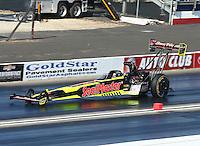 Feb 13, 2016; Pomona, CA, USA; NHRA top fuel driver J.R. Todd during qualifying for the Winternationals at Auto Club Raceway at Pomona. Mandatory Credit: Mark J. Rebilas-USA TODAY Sports