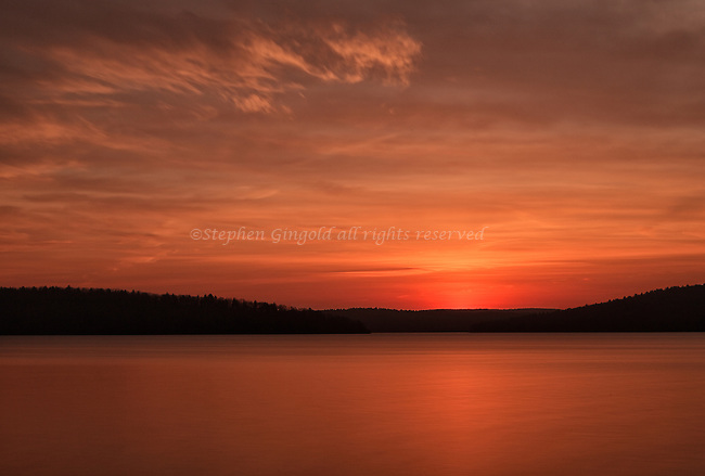A glorious dawn over the Quabbin as seen from the end of Old Enfield Road, Gate 5.