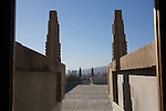 The fragile roof terrace at Frank Lloyd Wright's Hollyhock House in Barnsdall Art Park, Hollywood, Los Angeles, CA
