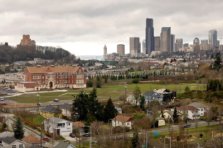 1/2/2008--Seattle, WA, USA..Built in 1909, the Colman School (large brick building, left of center)  in Seattle's Central Area was bought by the Urban League in 2003 and has been converted into low income housing on upper floors and the Northwest African American Museum on the ground floor..©2008 Stuart Isett. All rights reserved.