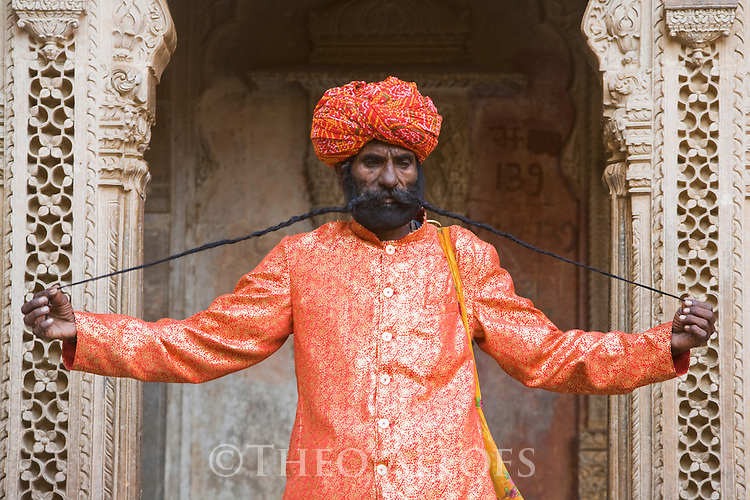 Rajasthani man showing his long mustache; claims to have the world's longest moustache, Jaisalmer, Rajasthan, India --- Model Released