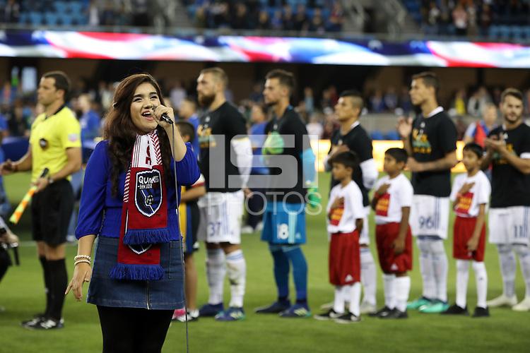 San Jose, CA - Wednesday September 19, 2018: National anthem during a Major League Soccer (MLS) match between the San Jose Earthquakes and Atlanta United FC at Avaya Stadium.