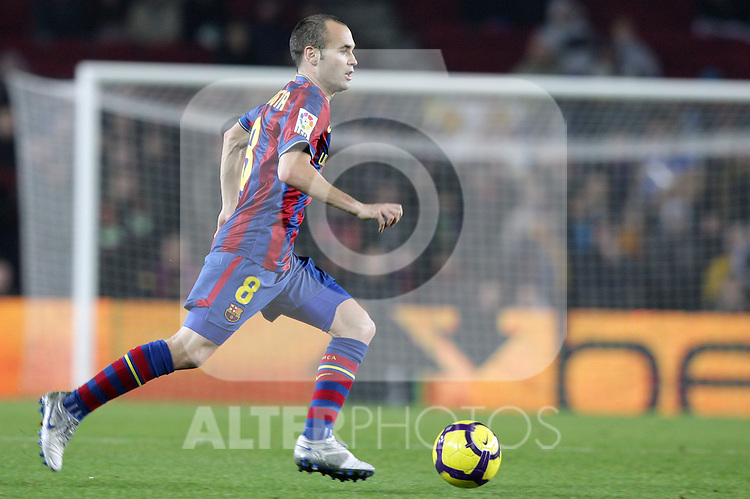 Football Season 2009-2010. Barcelona's player Andres Iniesta during their spanish liga soccer match at Camp Nou stadium in Barcelona. January 16, 2010.