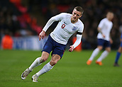 27th March 2018, Wembley Stadium, London, England; International Football Friendly, England versus Italy; Jamie Vardy of England makes a cutting run for through ball