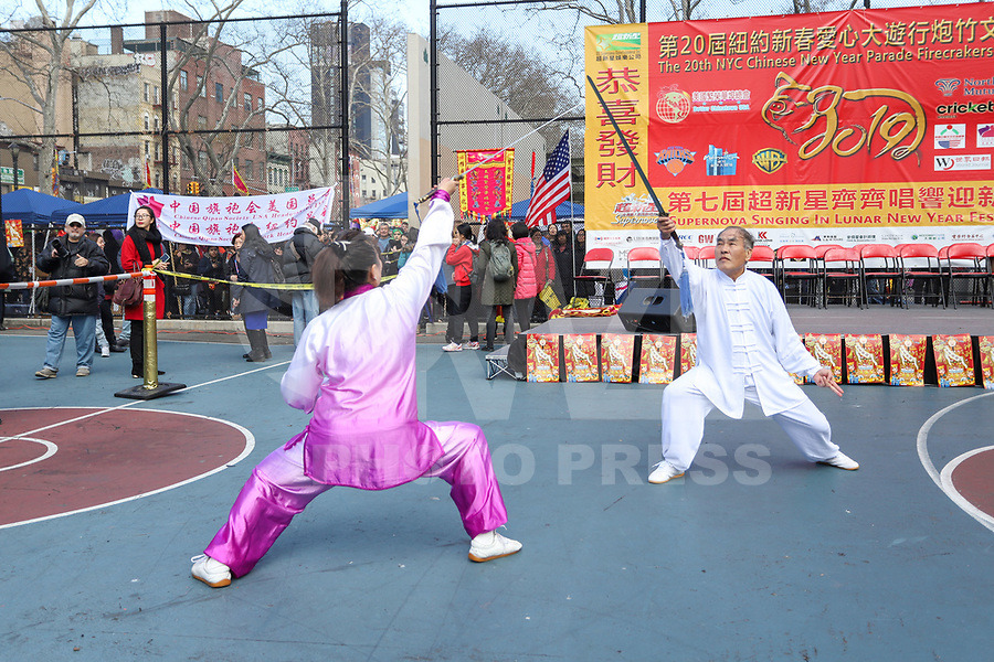NOVA YORK, EUA, 05.002.2019 - ANO-LUNAR - Cerimonia de Ano Novo Chines contabilizado pelo calendario Lunar (New York Lunar New Year) no bairro de Chinatown na Ilha de Manhattan em Nova York nesta terça-feira, 05. (Foto: Vanessa Carvalho/Brazil Photo Press)