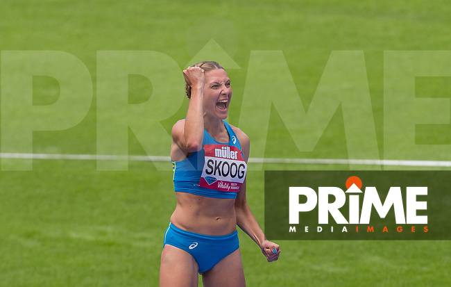 Sophie SKOOG of Sweden celebrates here =PB of 1.94 in the hHigh Jump during the IAAF Diamond League Muller London Anniversary Games 2017 at the Queen Elizabeth Park, Olympic Park, London, England on 9 July 2017.  Photo by Andy Rowland.