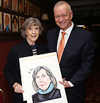 Dame Eileen Atkins and Max Klimavicius during the Eileen Atkins portrait unveiling at Sardi's on November 15, 2019 in New York City.