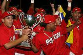 September 15 2008:  Rigoberto Lugo, Arquimedes Nieto, Miguel Tapia, Frederick Tapia, Jario Martinez of the Batavia Muckdogs, Class-A affiliate of the St. Louis Cardinals, celebrate winning the NY-Penn League championship after a game at Dwyer Stadium in Batavia, NY.  Photo by:  Mike Janes/Four Seam Images