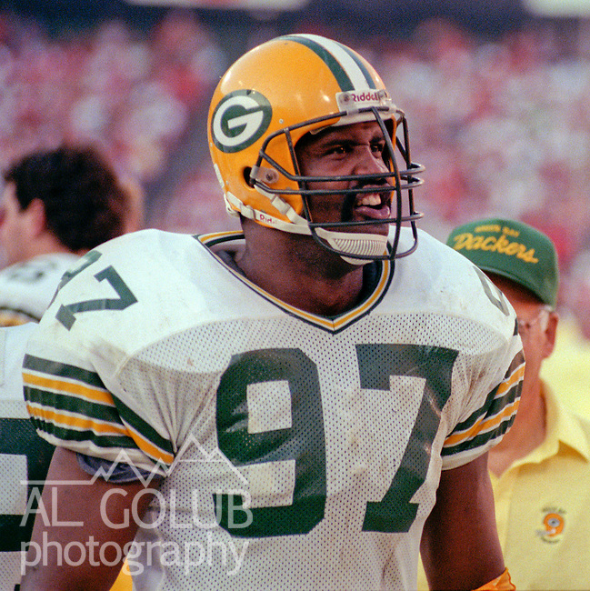 San Francisco 49ers vs Green Bay Packers at Candlestick Park Sunday, November 19, 1989..Packers beat 49ers 21-17.Packer defensive end Tim Harris (97)..