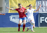 20190301 - LARNACA , CYPRUS : Finnish Nora Heroum (r) pictured in a duel with Czech Tereza Szewieczkova (left) during a women's soccer game between Finland and Czech Republic , on Friday 1 March 2019 at the AEK Arena in Larnaca , Cyprus . This is the second game in group A for Both teams during the Cyprus Womens Cup 2019 , a prestigious women soccer tournament as a preparation on the Uefa Women's Euro 2021 qualification duels. PHOTO SPORTPIX.BE | DAVID CATRY