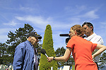 Normandy, WWII veteran and Holocaust survivor Henry Hirschmann is interviewed by the French TV at the American Military Cemetery in Omaha Beach on the 70th Anniversary of D-DAY